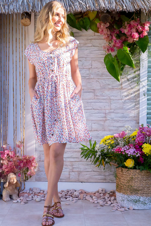 Juniper Spring Flowers White Dress