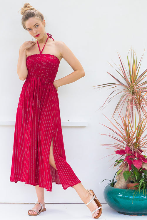 Kokomo Berry Silver Thread Maxi Dress
