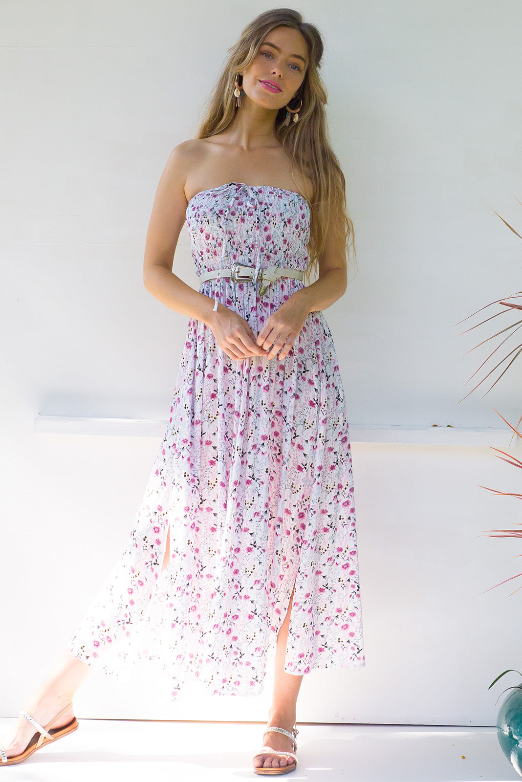 Kokomo Dune White Maxi Dress with a ruched strapless bodice and halter tie at neck in a crinkled floral rayon
