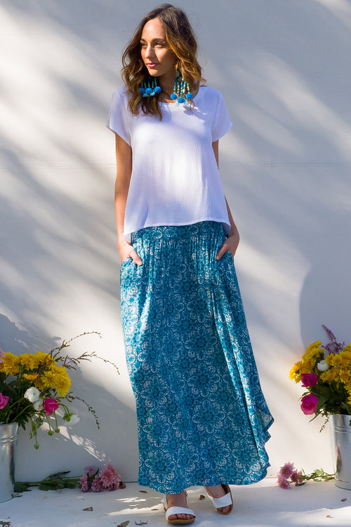 Laguna Maxi Skirt in Babylon Blue
