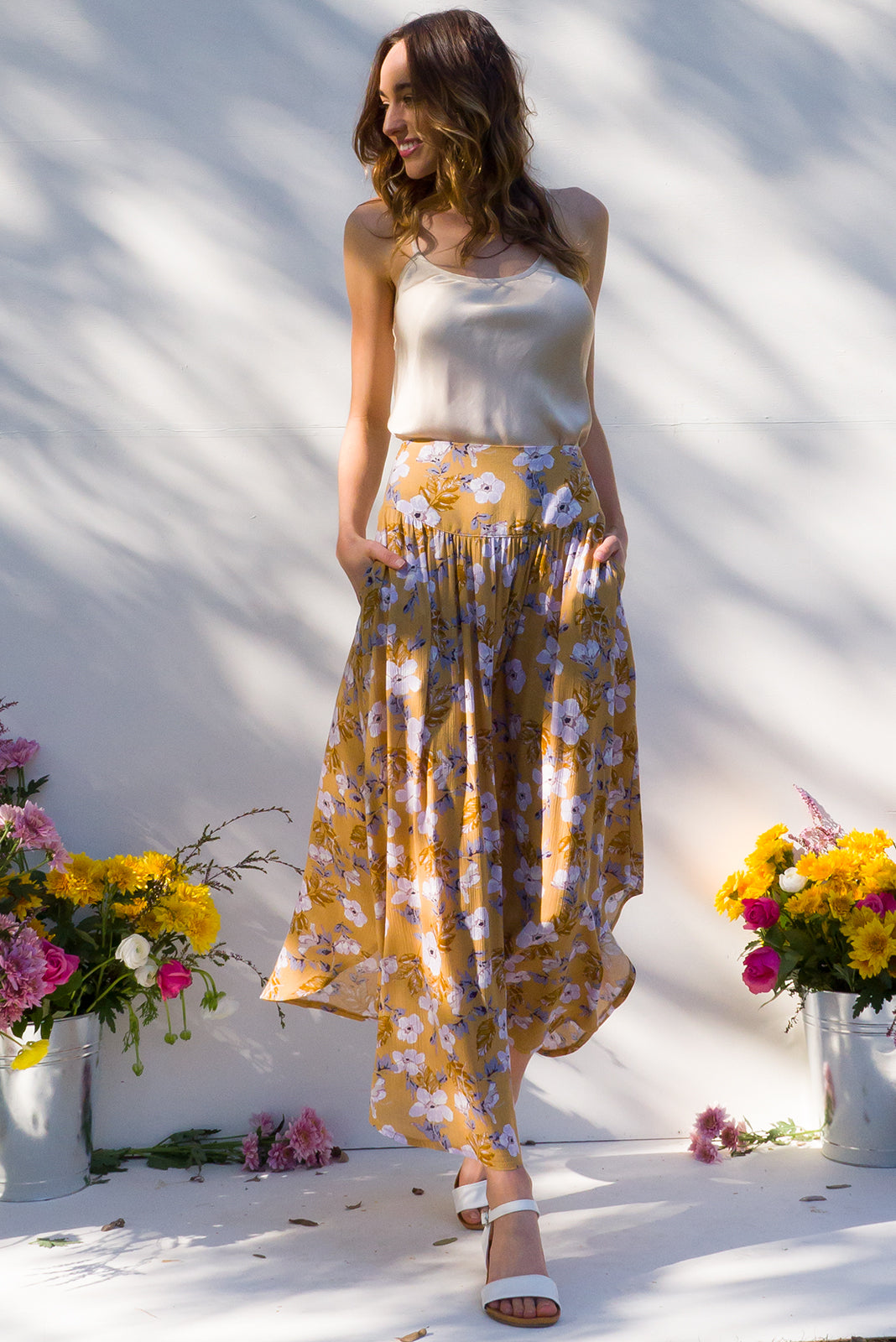 Laguna Maxi length Skirt with elastic back and front yoke in a warm caramel and lilac floral print