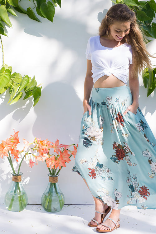 Laguna Maxi Skirt Sea Coast Blue