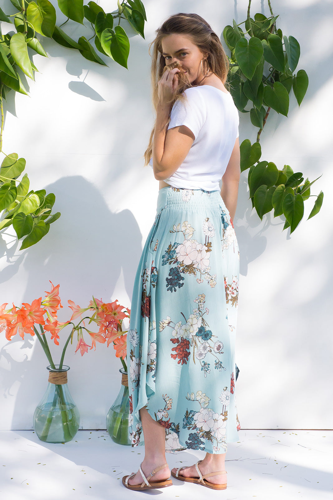 Laguna Maxi Skirt with a soft ruched elastic back and pockets  in Sea Coast Blue floral Print
