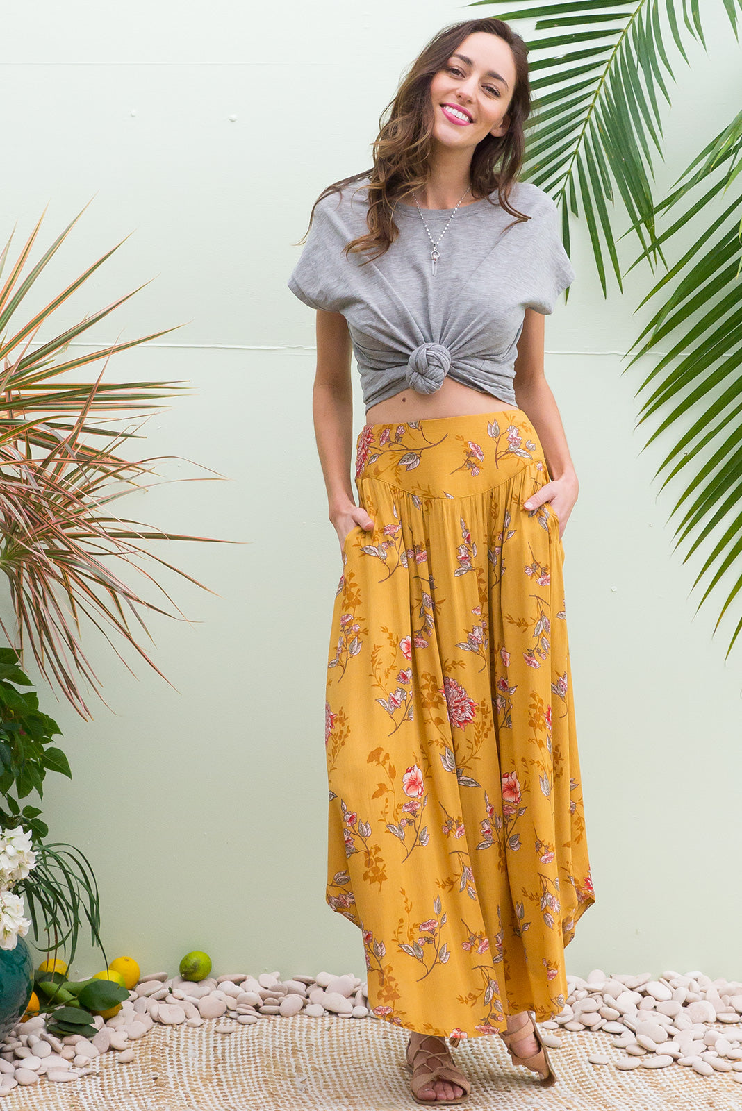 Laguna Golden Maxi Skirt with a soft ruched elastic back and pockets in rich golden yellow with a tonal floral bohemian vintage style print on crinkle rayo