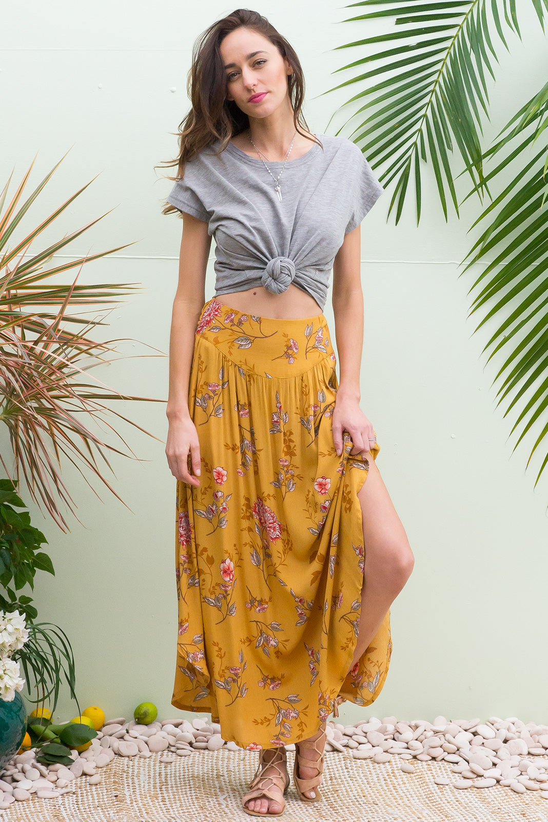 Laguna Golden Maxi Skirt with a soft ruched elastic back and pockets in rich golden yellow with a tonal floral bohemian vintage style print on crinkle rayon