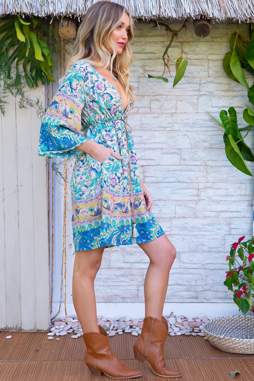 Layla Camelot Cream and mint Dress made from lightweight rayon, women's tunic bohemian beachy style loose knee length dress is feeding friendly.