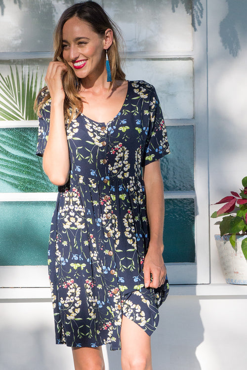 Little Rock Orchid Navy Button Front Dress