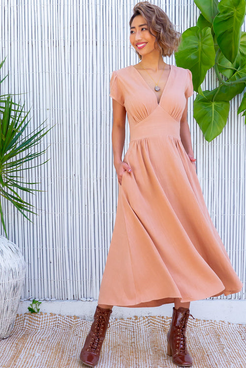 Lizzie Caramel Linen Dress