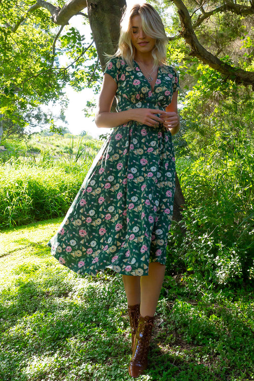 Lizzie Forest Green Flowers Dress