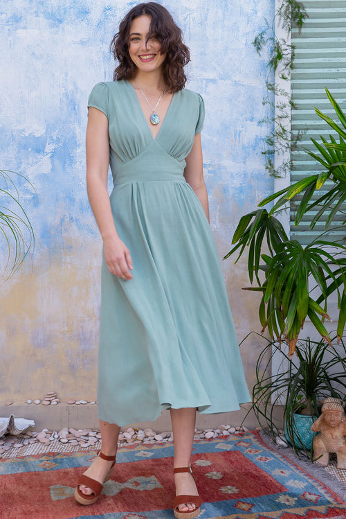 Lizzie Soft Sage Linen Dress