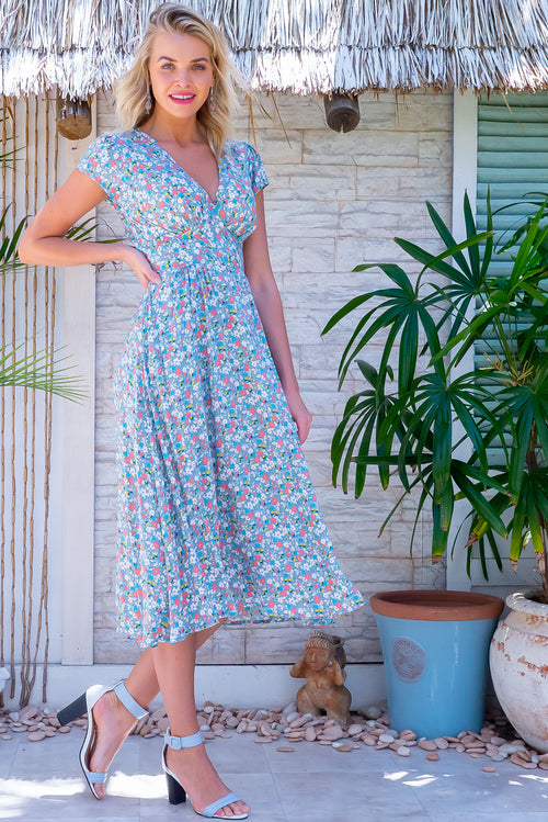 Lizzie Steel Blue Garden Dress