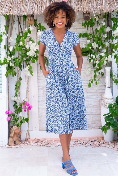 Lizzie Blue Daisies Midi Dress