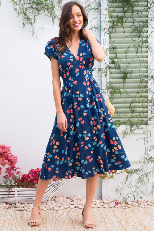 Lizzie Blue Poppies Dress