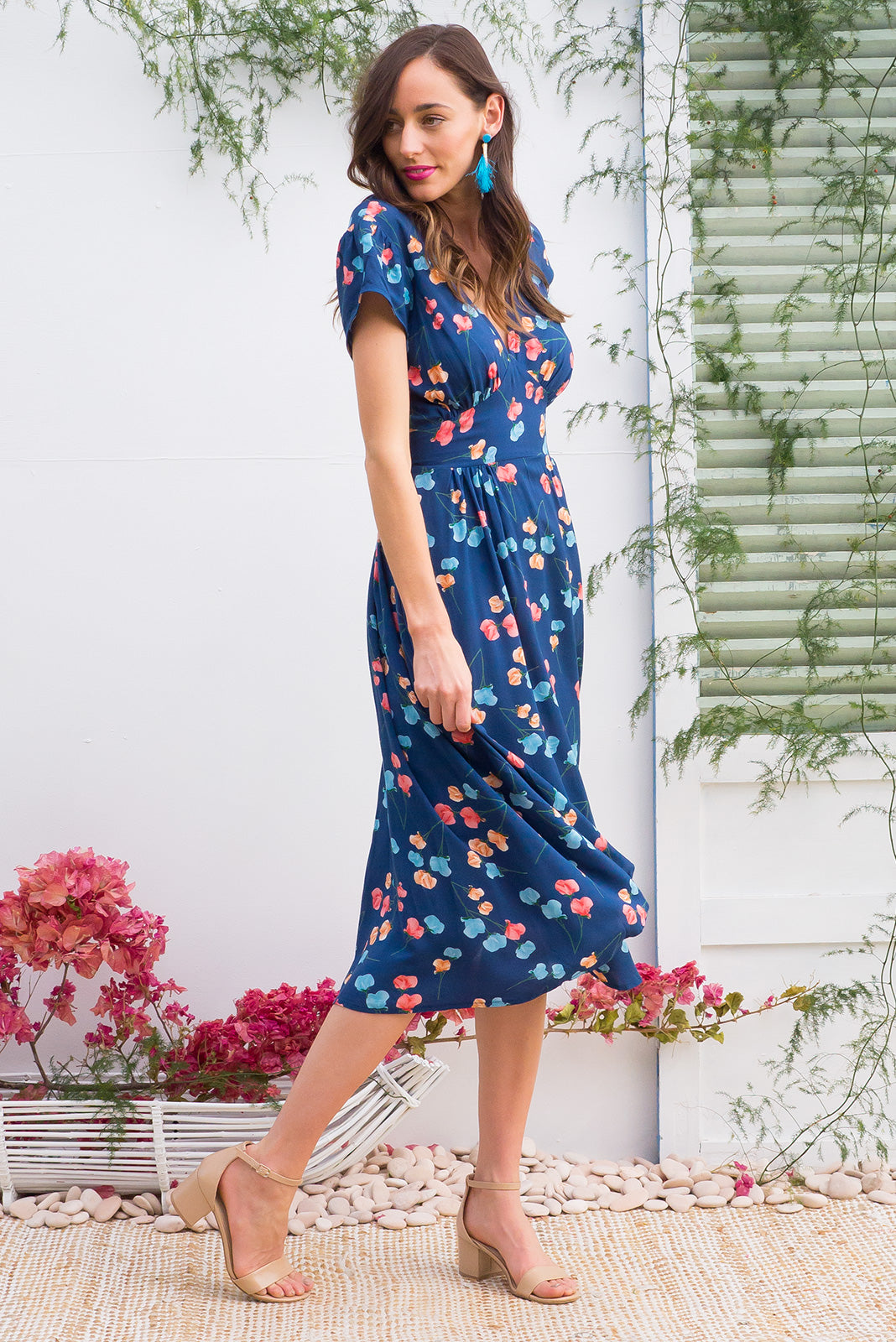 Lizzie Blue Poppies Dress Restocked