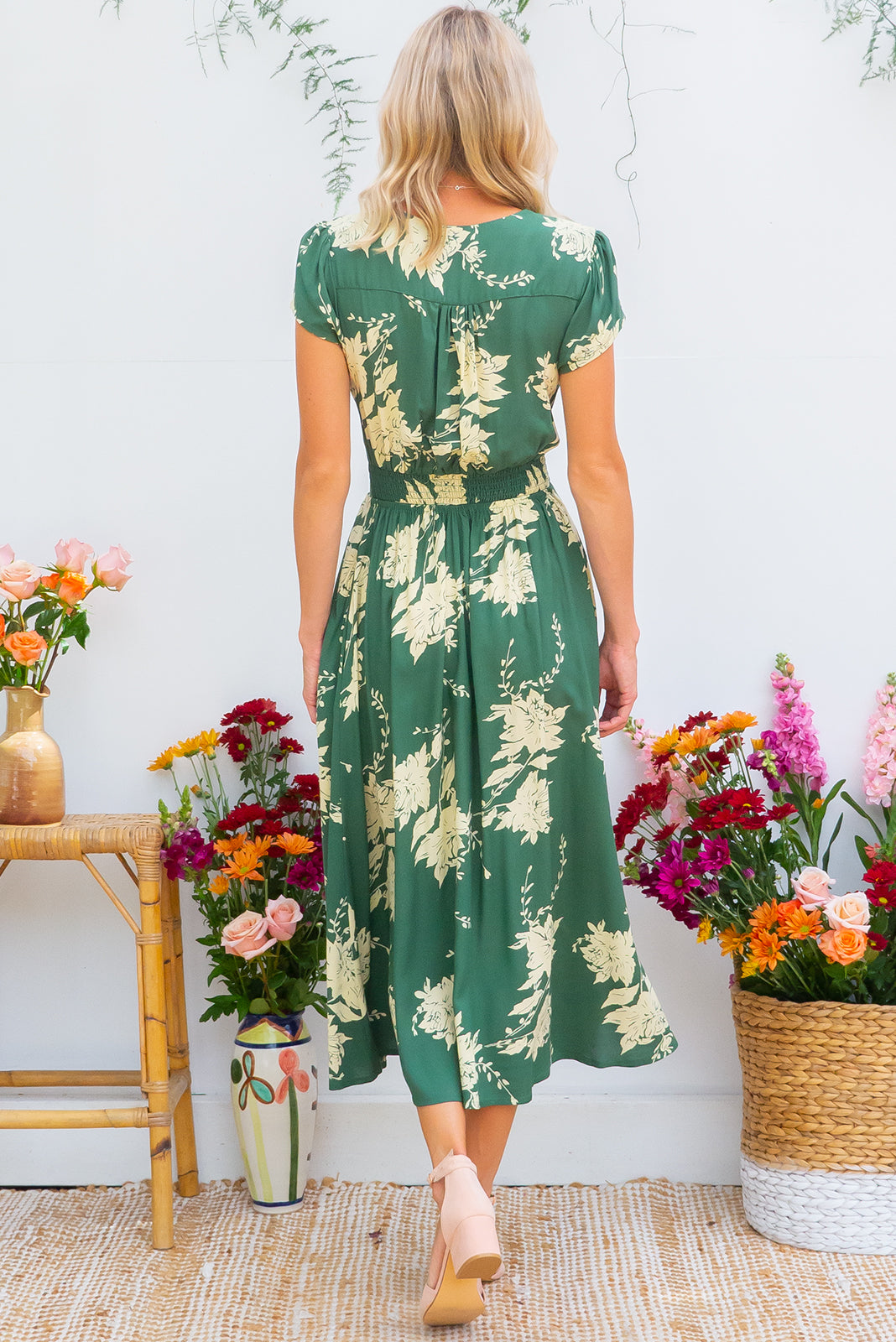 Lizzie Green Garden Dress, fitted bust midi dress in soft green floral print comes in plus sizes