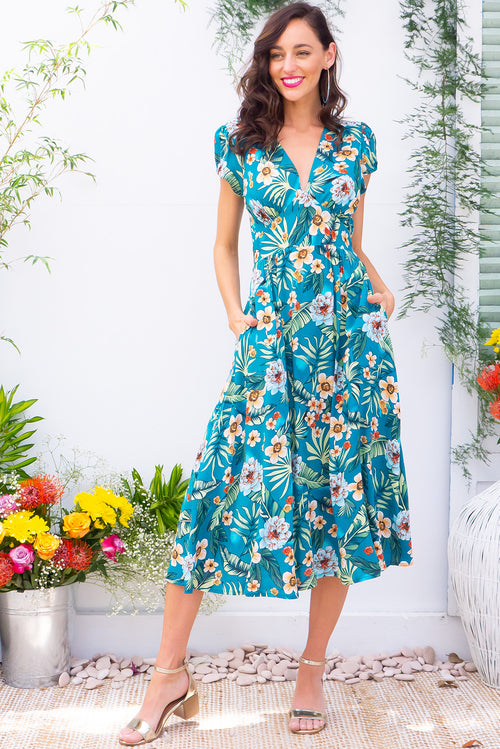 Lizzie Lucia Jungle Teal Dress