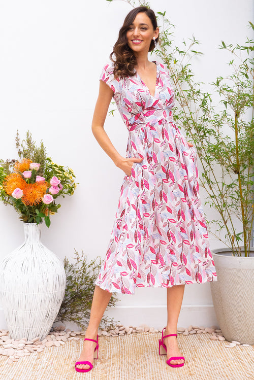 Lizzie Pink Leaves Midi Dress