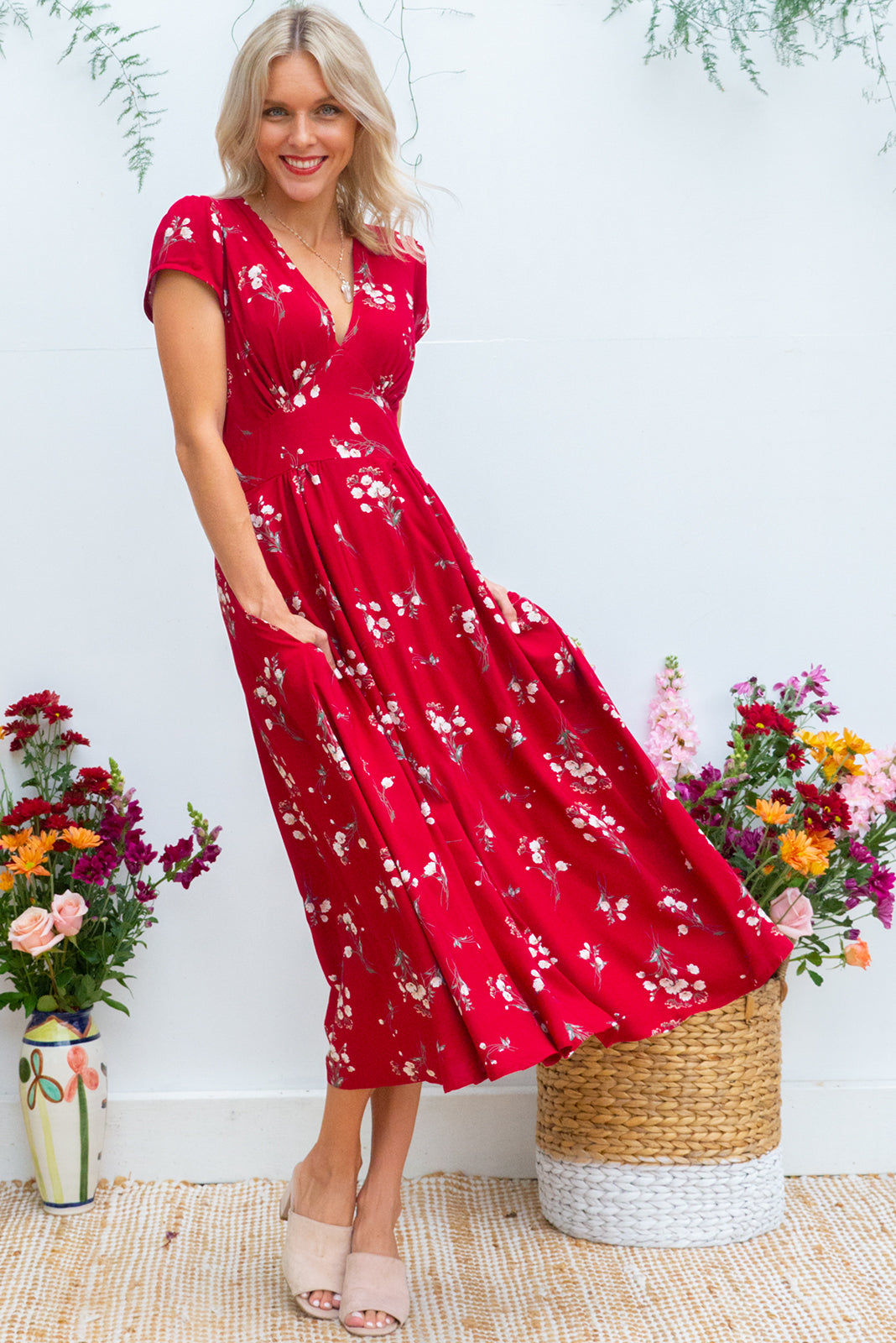 Lizzie red blooms dress retro inspired floral midi length in a dark bright deep red based delicate floral print on woven 100% rayon