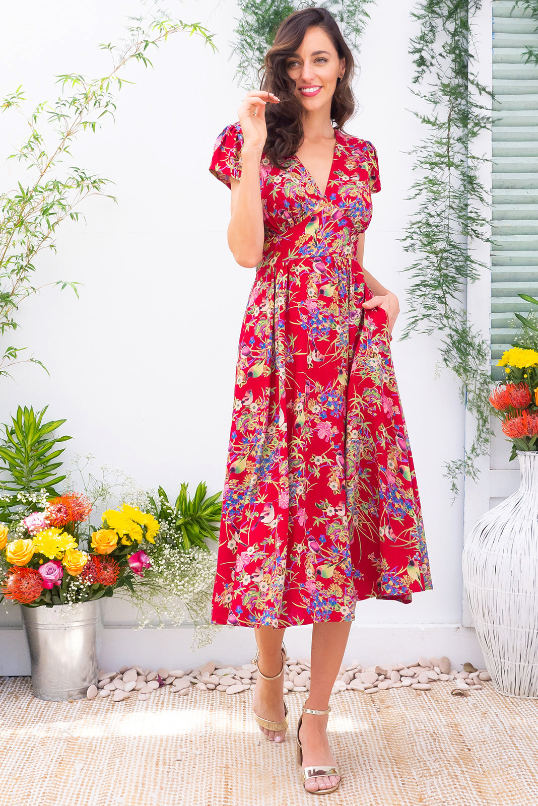 Lizzie Red Honeyeater Dress Midi Length Crimson Bird and Floral Print Rayon Summer Dress with V Neck, Cap Sleeves and pockets.