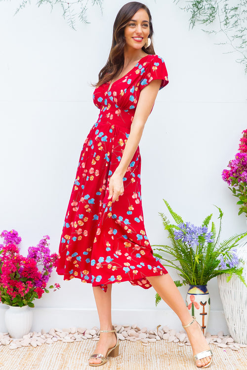 Lizzie Red Poppies Dress