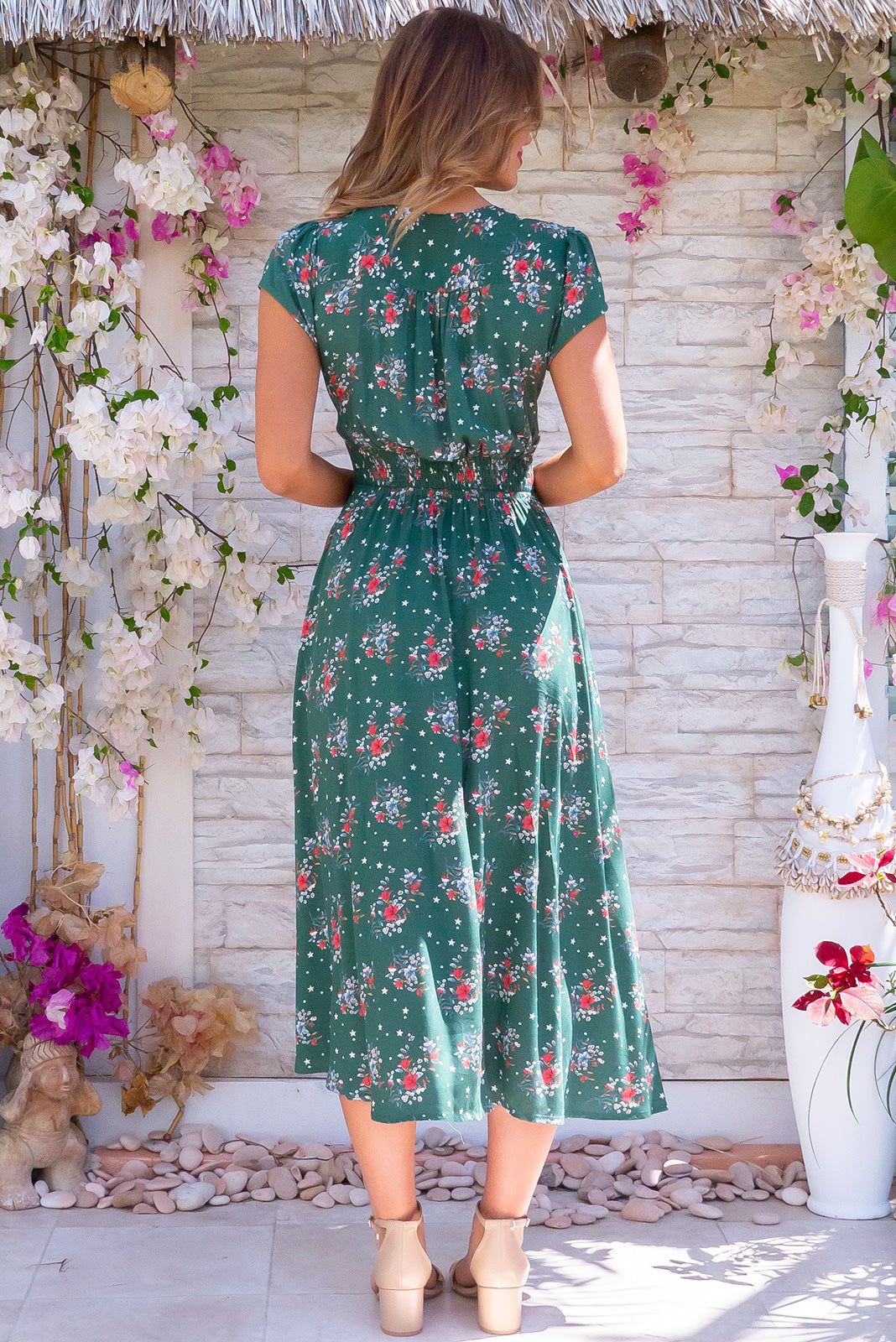 Lizzie Star Green Dress retro inspired midi dress with star and floral print, made from rayon, features side pockets, cap sleeves, v neck.