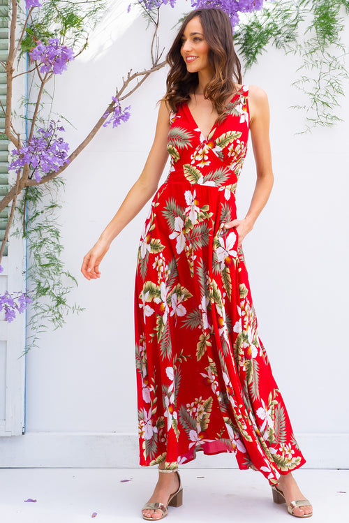 Lola Aloha Red Maxi Dress