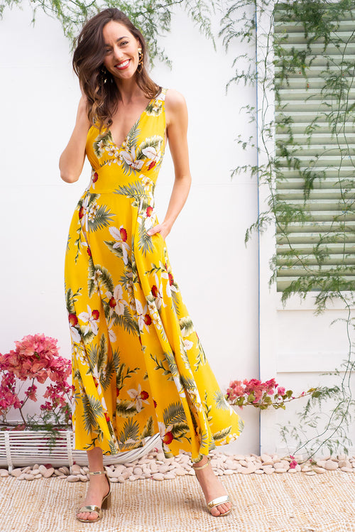 Lola Aloha Yellow Maxi Dress