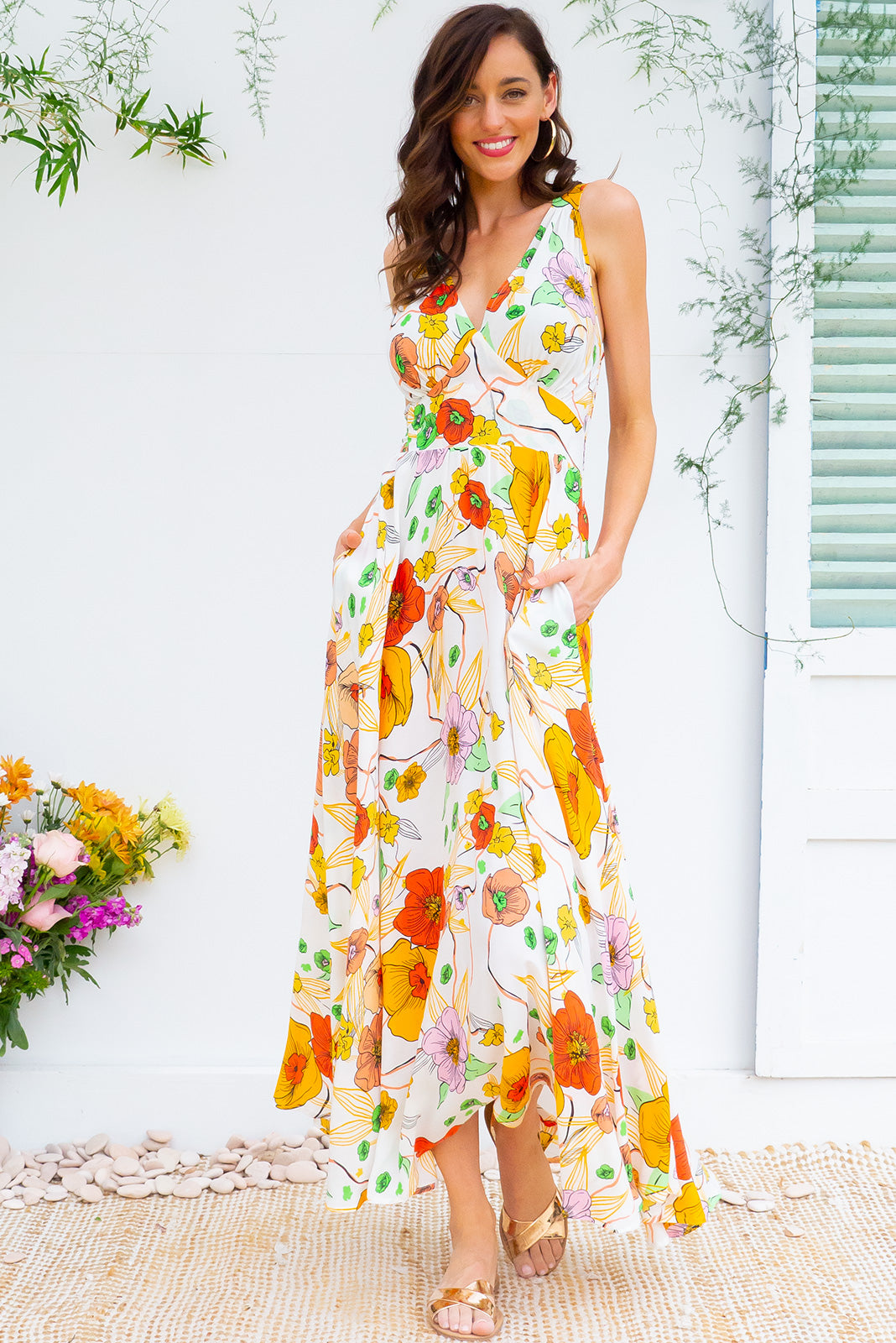 6b6f7778080 Lola Tangerine Tansy Maxi Dress features a vintage inspired fitted basque  waist and elasticated waist with
