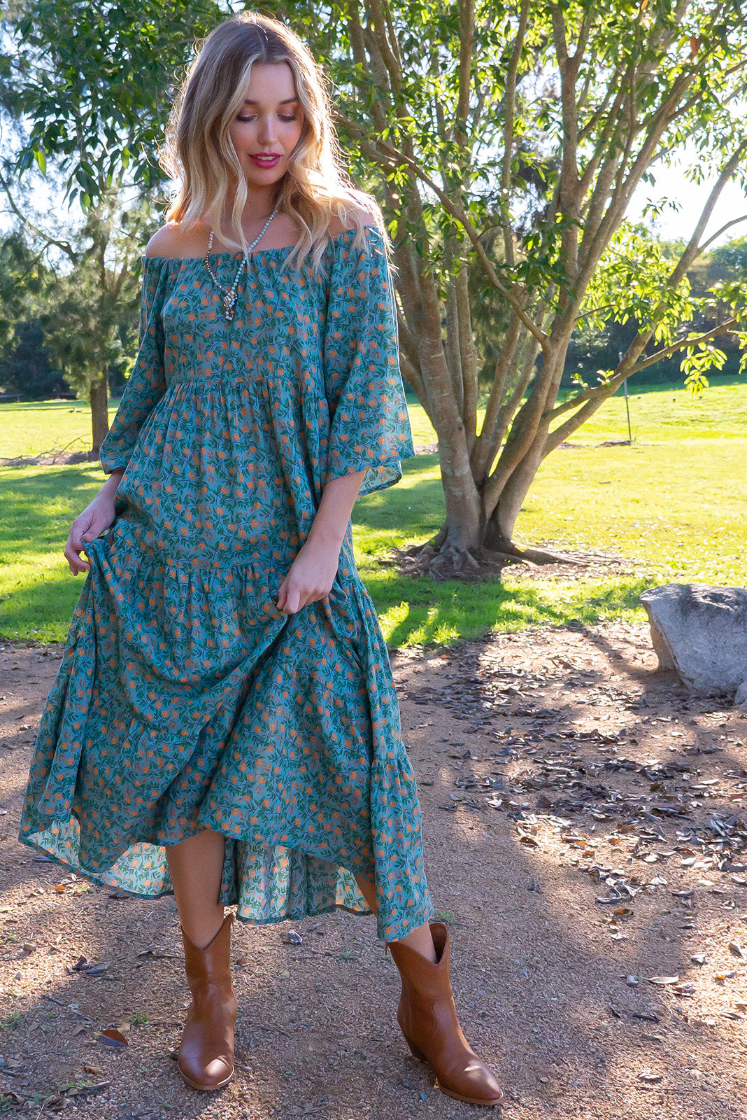 df72ddb3f8 Lizzie Liberty Teal Swing Maxi Dress - Women's teal blue floral cotton/rayon  maxi dress