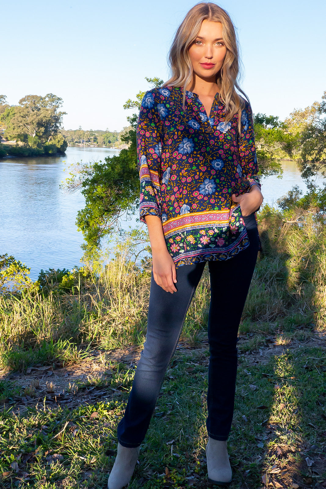 Lotus Dreamland Navy Kaftan Top. Women's bohemian & gypsy inspired navy tunic kaftan top. Suitable for plus size, curvy, petite, tall, maternity or nursing. Long flowing sleeves. Navy fabric, floral pattern of blue pink green and gold. Perfect for autumn, winter/ summer nights. Perfect day, festival, holiday, dress. Designed in Brisbane Australia.