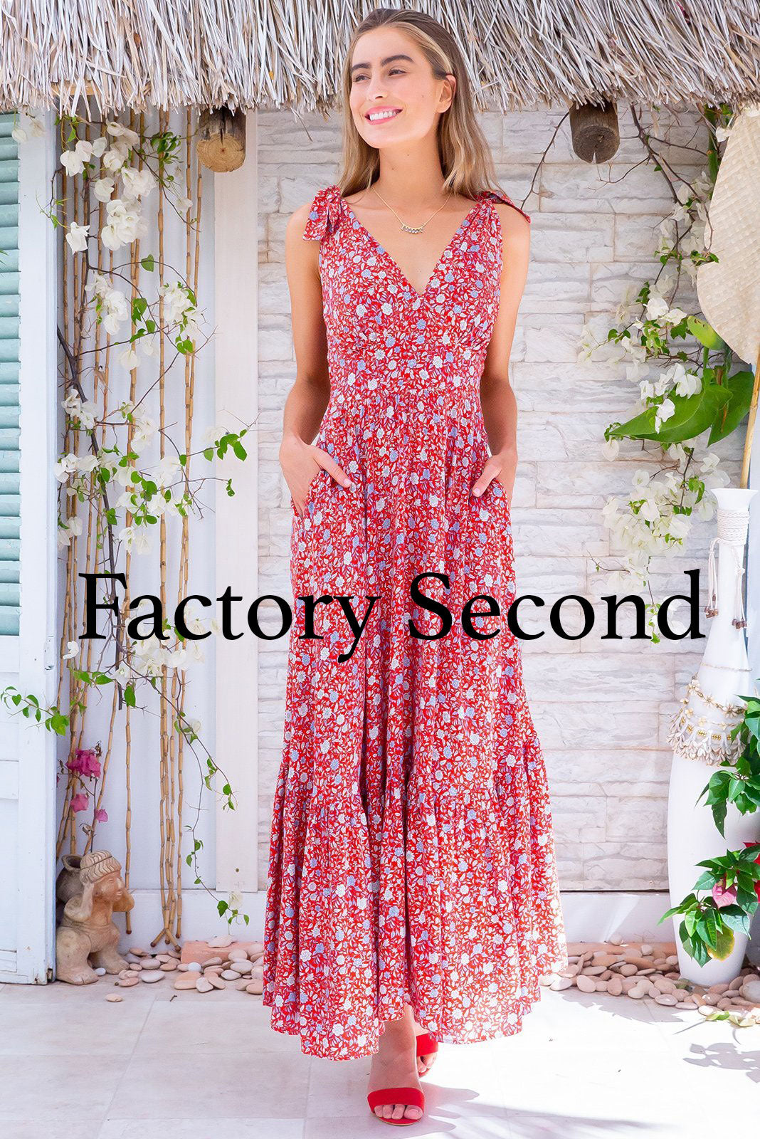 Luana Jaipur Red Maxi Dress, bohemian summer style, side pockets, deep v neckline, basque waist, gathered bust, adjustable shoulder ties, tiered skirt, elasticated shirring on back waistband, bright red tomato base with small blue and white floral print.