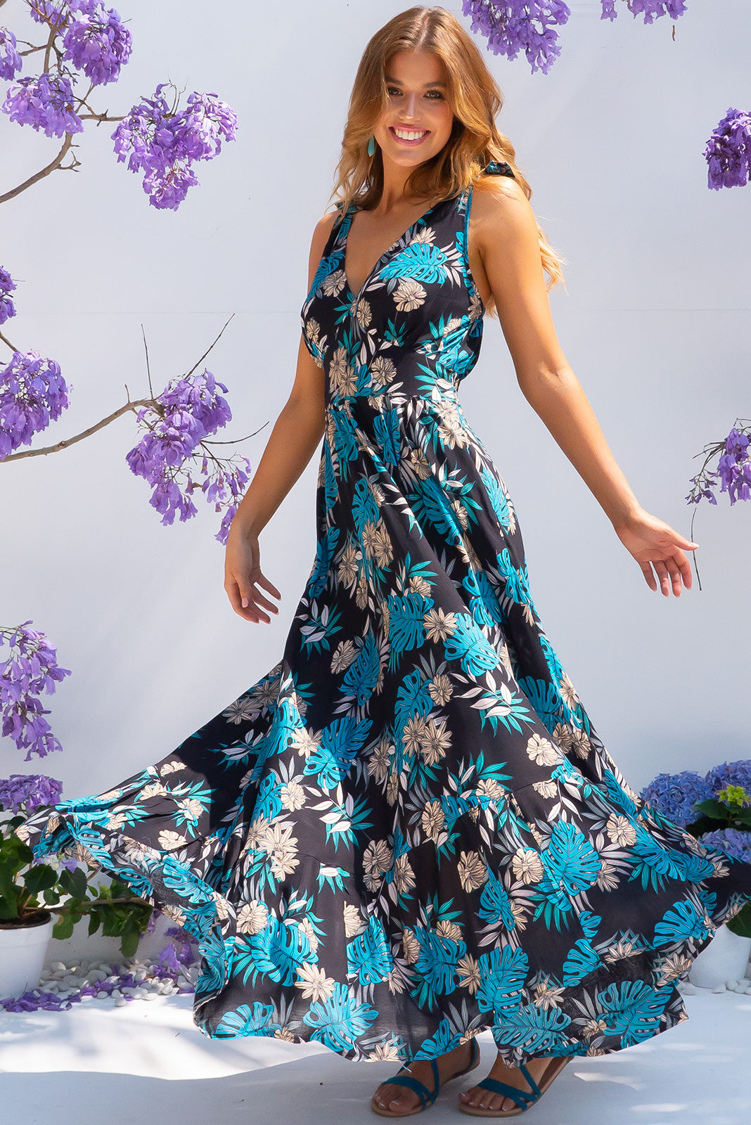 Luana Teal Ferns Maxi Dress with adjustable straps, pockets, full skirt and made from 100% viscose.