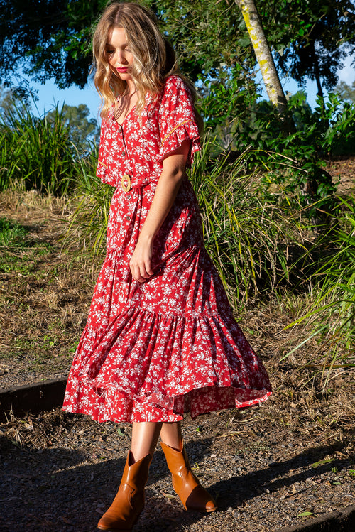 Lucinda Desert Red Maxi Dress