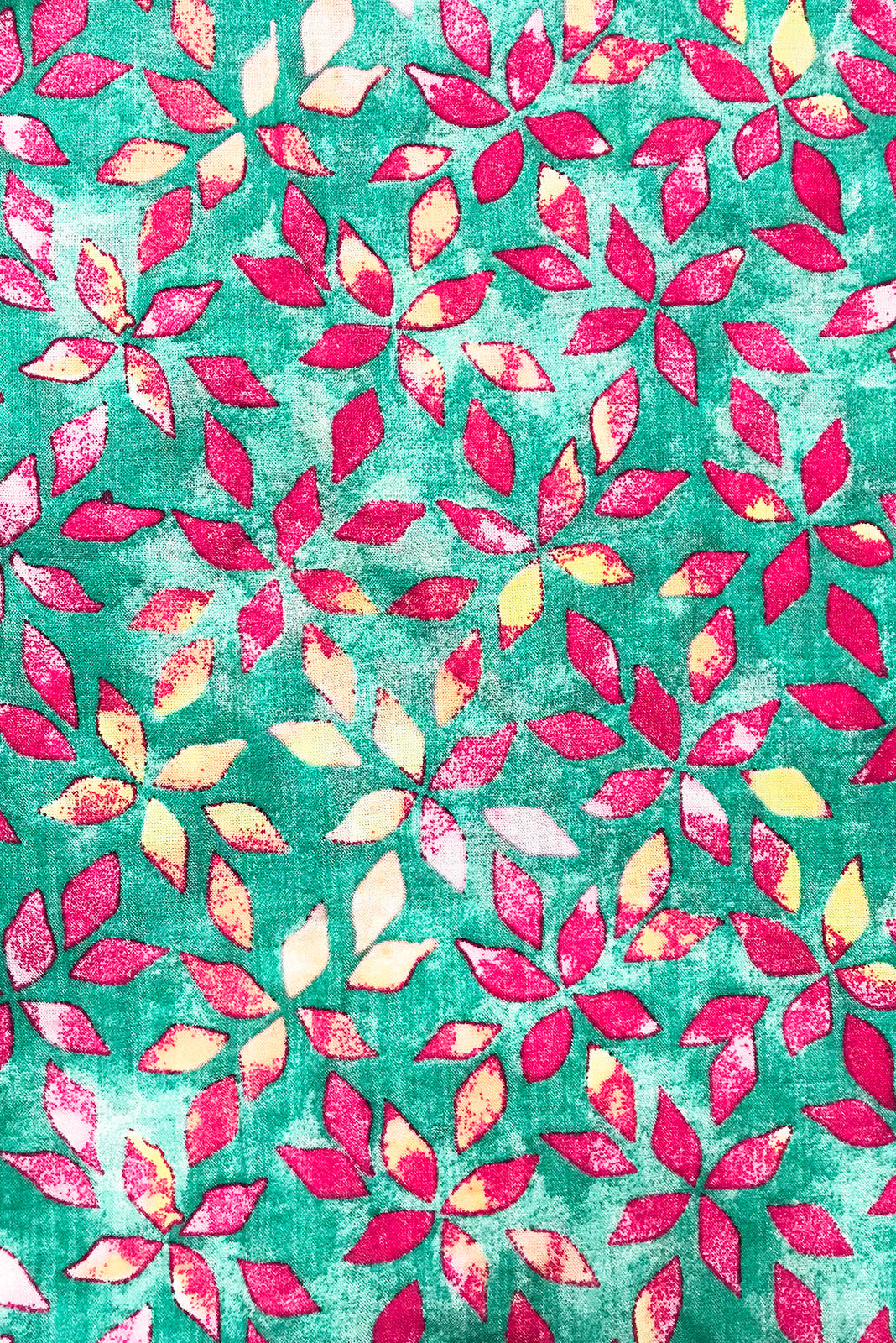 Fabric Swatch of Lucky Lulu Green Fields Maxi Dress features woven 100% Rayon in Seafoam green base covered with pink and yellow petals.