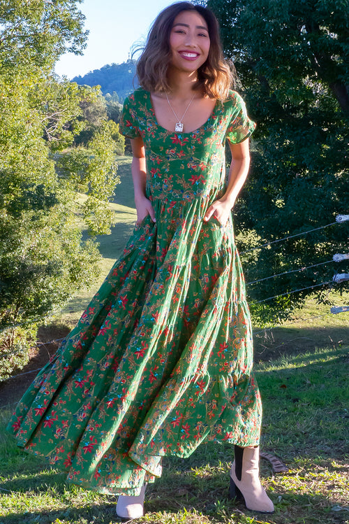 Lucky Lulu Green Jungle Maxi Dress