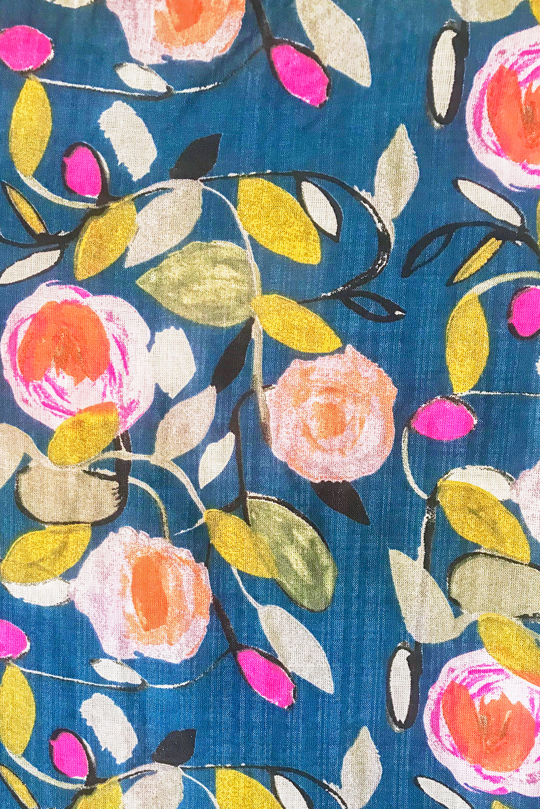 Fabric Swatch of Lucky Lulu Polka Rose Maxi Dress features navy/teal base with multicoloured rose design featuring fuchsia, peach, gold, mint and khaki in woven 100% cotton.