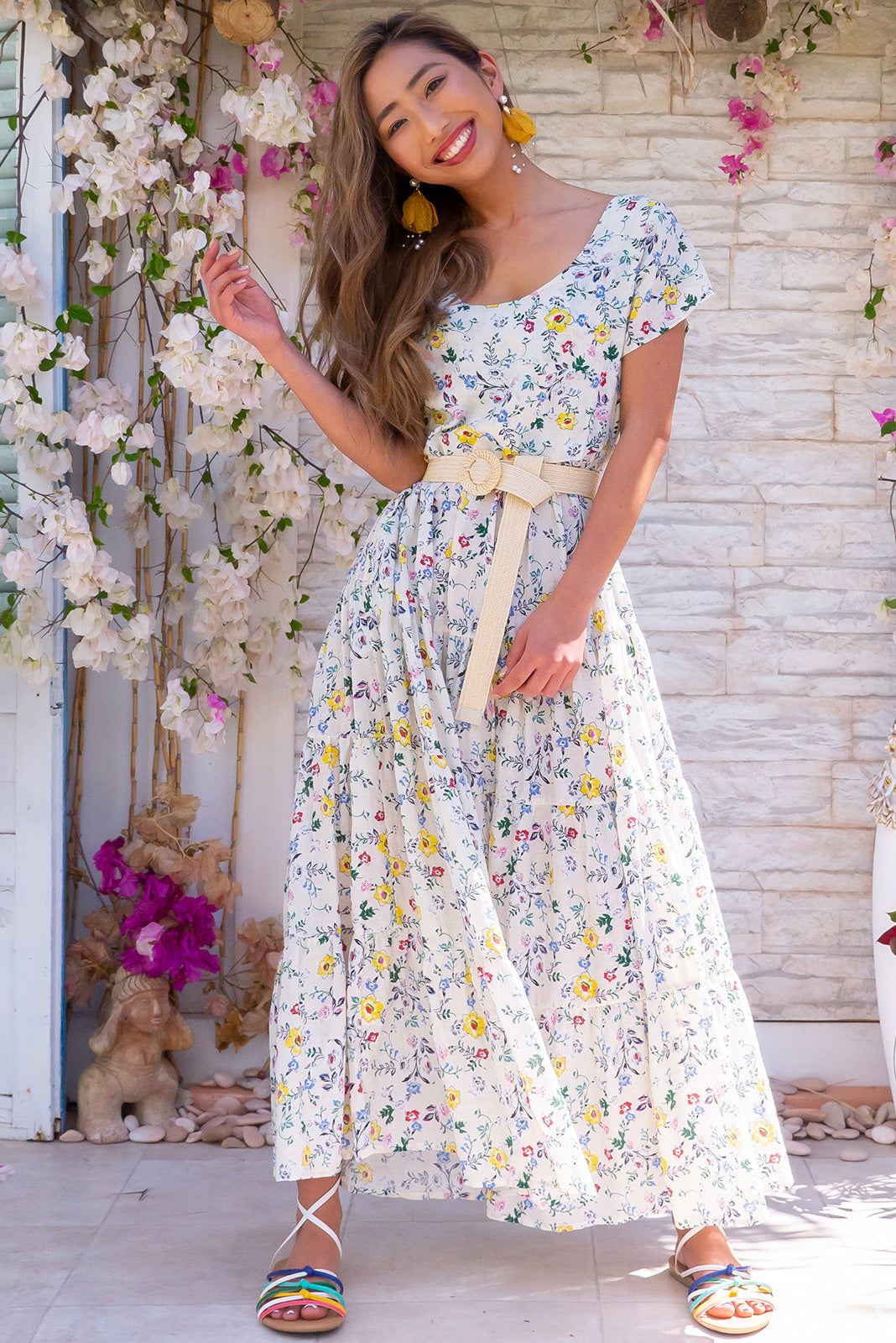 Lucky Lulu Buttercups White Maxi Dress 100% cotton fabric floral summer design, includes side pockets, cap sleeves and tiered skirt