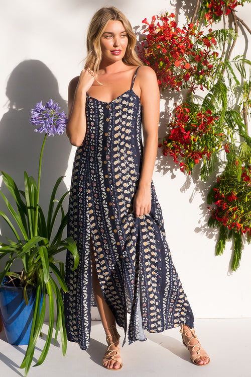 Luella Navy Pine Maxi Dress