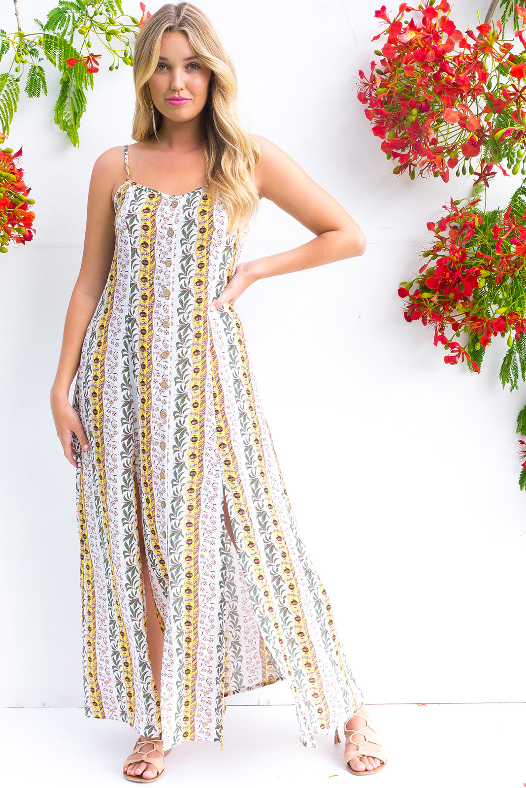 Luella Button Front Maxi Dress in a white pineapple tropical stripe print