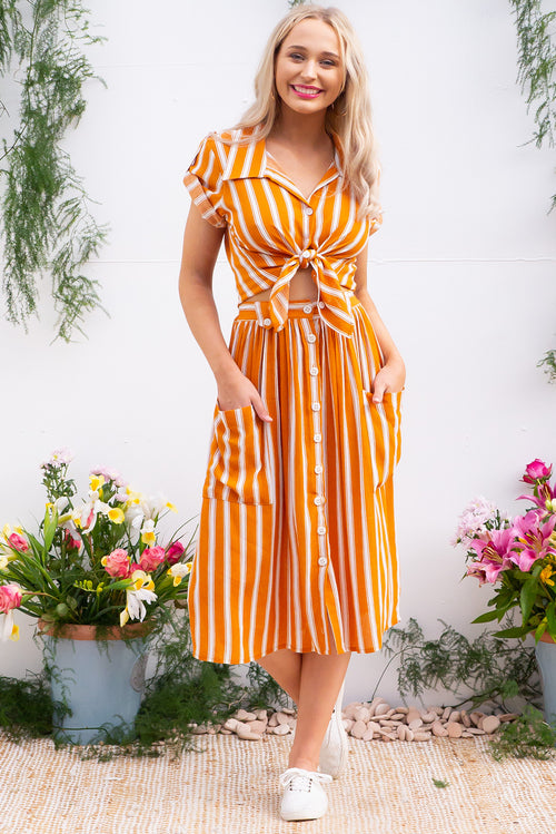 Luisa Skirt Burnt Orange Stripe