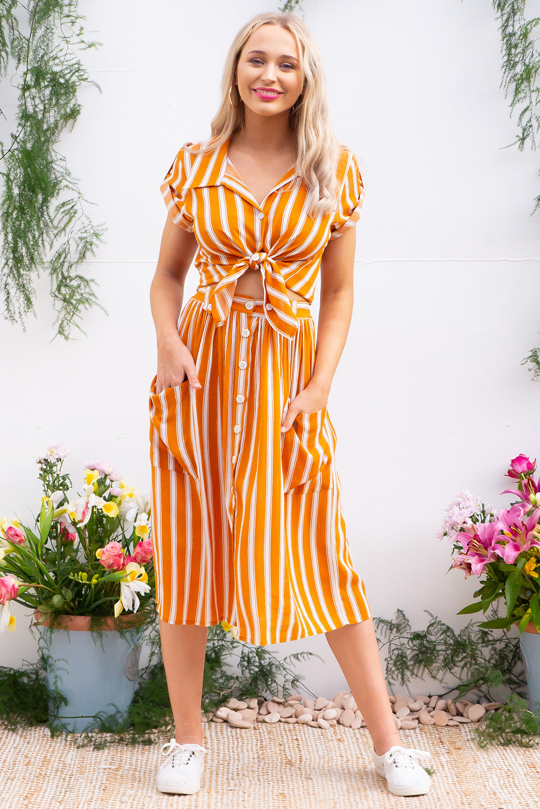 Luisa Burnt Orange Stripe button front crinkle textured 100% rayon in a burnt orange retro inspired stripe print