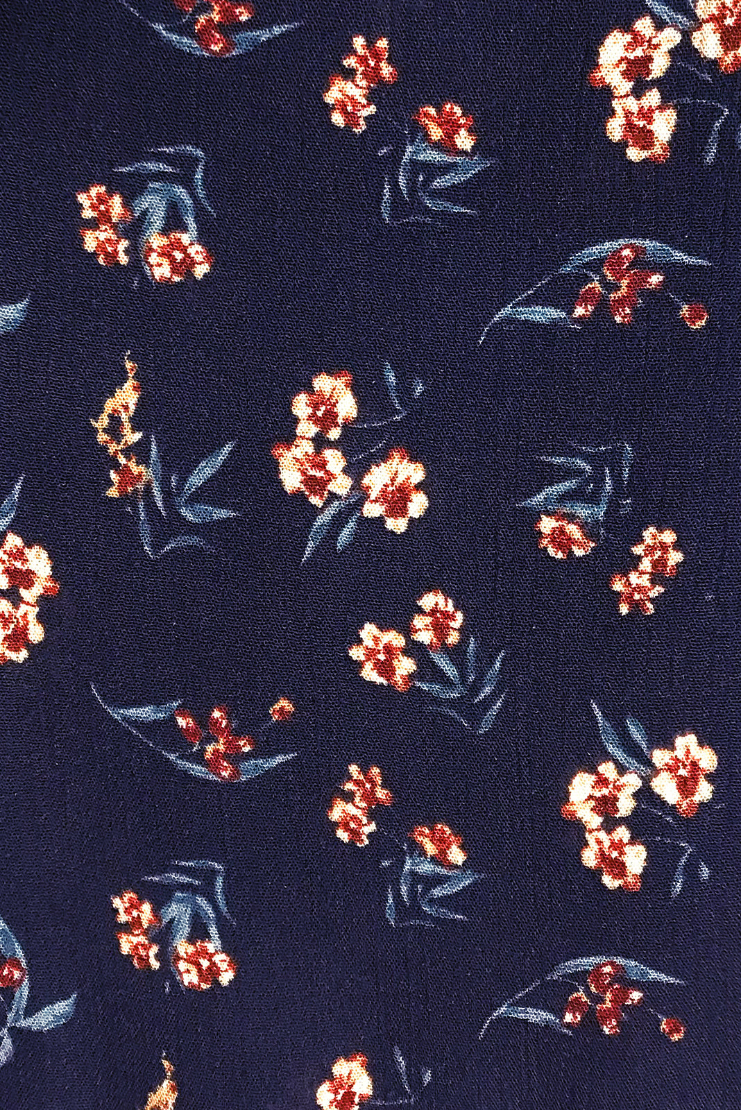 Fabric Swatch of Lulu Bell Inky Buds Mini Dress comes in crinkle rayon in Navy base with chic floral print.