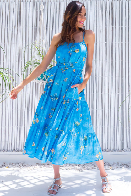 Lulu Loves Clear Water Blue Maxi Dress