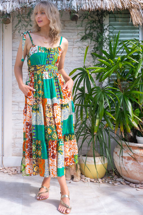 Lulu Loves Green Mosaic Maxi Dress