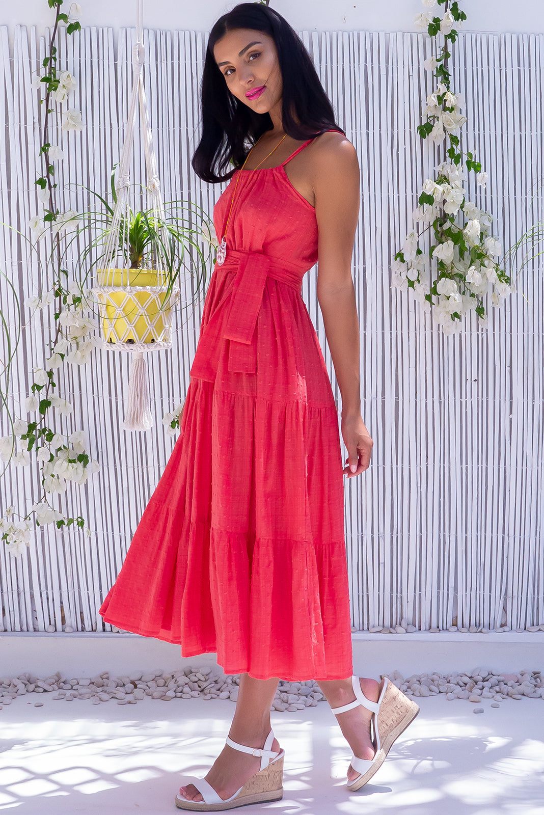 The vibrant red base adorned with a dobby spot texture is suited to every occasion, the Lulu Loves Watermelon Red Maxi Dress features an adjustable neckline, hidden pockets, 100% cotton and a tiered skirt for ultimate glam.