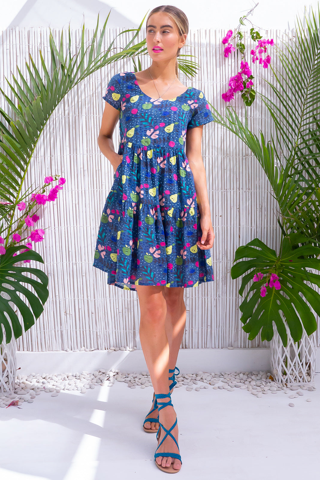 Lulu Elle Fruity Navy Mini Dress, bohemian summer style, vintage inspired, floral print, side pockets.