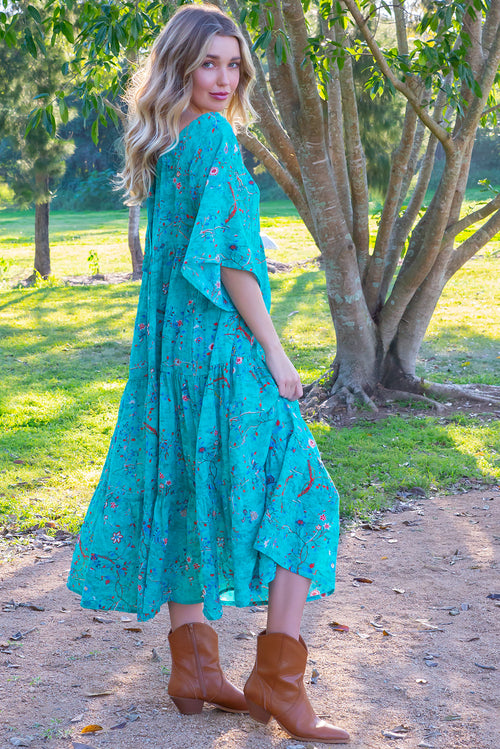 Lulu Liberty Aquamarine Dream Swing Maxi Dress