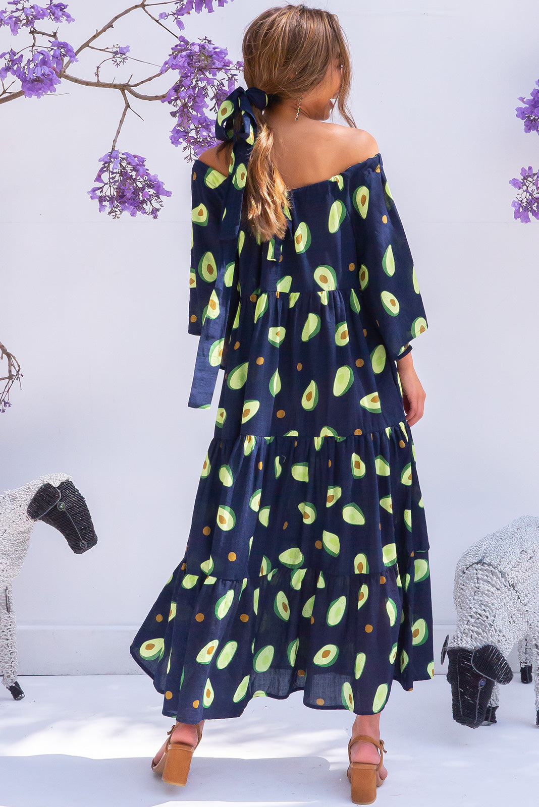 Lulu Liberty Avo Navy Maxi Swing Dress avocado print retro cotton design with pockets and off the shoulder cut.