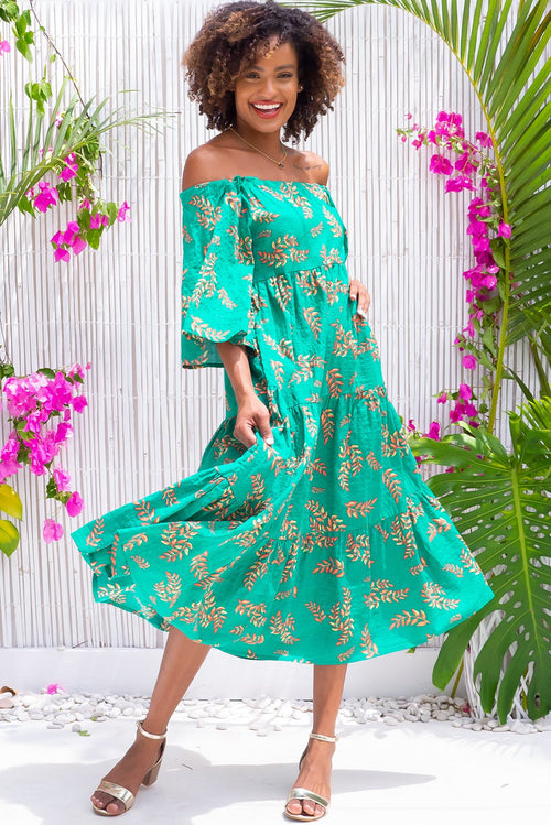 Lulu Liberty Green Shadow Leaf Maxi Swing Dress