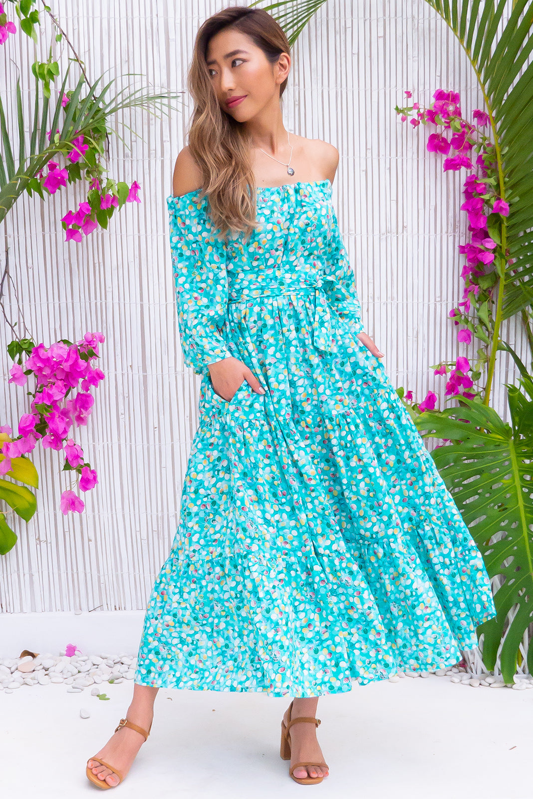 Lulu Liberty Sea Grapes Maxi Swing Dress will keep you cool in the woven 100% Cotton fabric featuring drawstring tie to adjust neckline, side pockets, fresh aqua/teal tones fabric scattered with pale mint, yellow and dark green and fabric belt included.